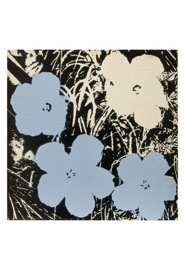 Flowers, 1965 (3 blue, 1 ivory)-Andy Warhol-Art Print