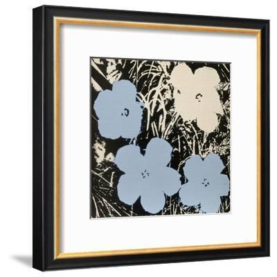 Flowers, 1965 (3 blue, 1 ivory)-Andy Warhol-Framed Art Print