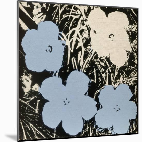 Flowers, 1965 (3 blue, 1 ivory)-Andy Warhol-Mounted Art Print