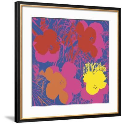 Flowers, 1970 (red, yellow, orange on blue)-Andy Warhol-Framed Art Print
