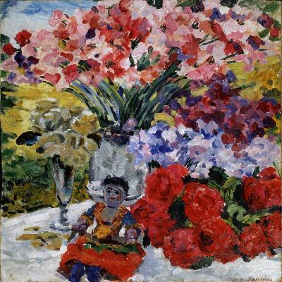 Flowers and a Doll, 1916-Mikhail Nikolayevich Yakovlev-Giclee Print