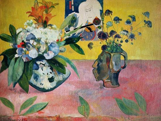 Flowers and a Japanese Print, 1889-Paul Gauguin-Giclee Print