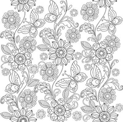 Flowers And Butterflies Coloring Art