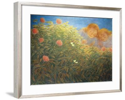 Flowers and Butterflies-Gaetano Previati-Framed Giclee Print