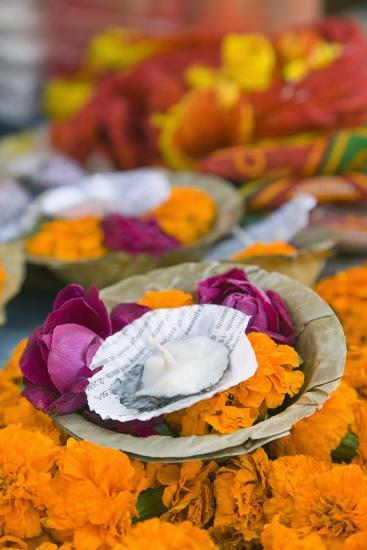 Flowers and Candle to Be Released during Ganga Aarti Ceremony-Jon Hicks-Photographic Print