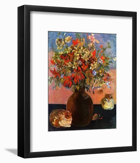 Flowers and Cats-Paul Gauguin-Framed Art Print