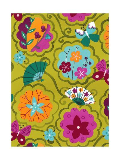 flowers and Fans Pattern--Art Print