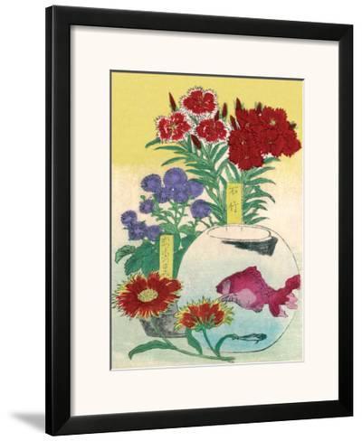 Flowers and Fishbowl--Framed Art Print