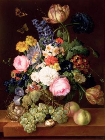 Flowers and Fruit with a Bird's Nest on a Ledge, 1821-Franz Xavier Petter-Premium Giclee Print
