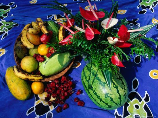 Flowers and Fruits on a Cloth, Castle Comfort, Dominica-Michael Lawrence-Photographic Print