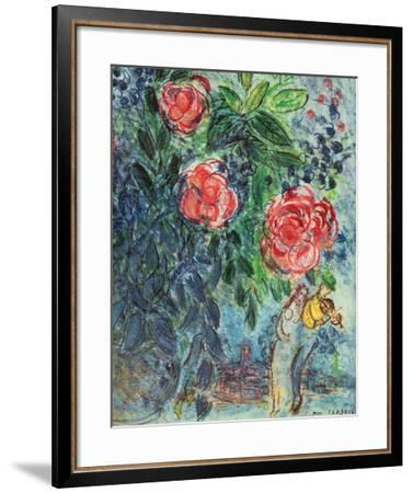 Flowers and Lovers-Marc Chagall-Framed Art Print