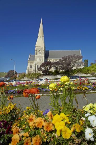 Flowers and St. Luke's Anglican Church, Oamaru, North Otago, South Island, New Zealand-David Wall-Photographic Print