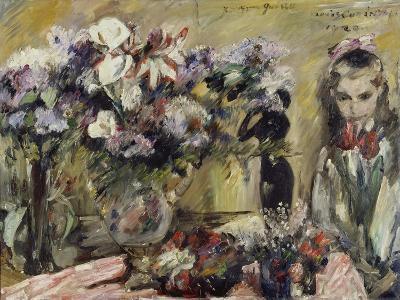 Flowers and the Artist's Daughter Wilhelmine, 1920-Lovis Corinth-Giclee Print