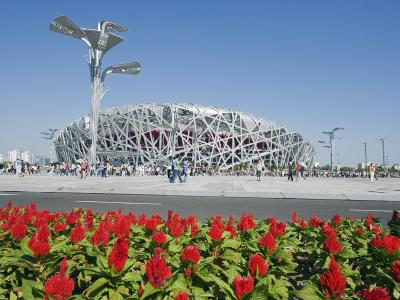 Flowers and the Birds Nest National Stadium in the Olympic Green, Beijing, China-Kober Christian-Photographic Print