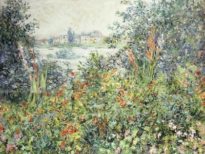 Claude Monet Flower Beds at Vétheuil Giclee Canvas Print