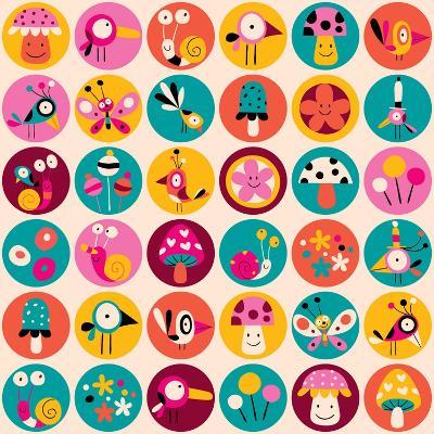 Flowers, Birds, Mushrooms & Snails Pattern-Alias Ching-Art Print