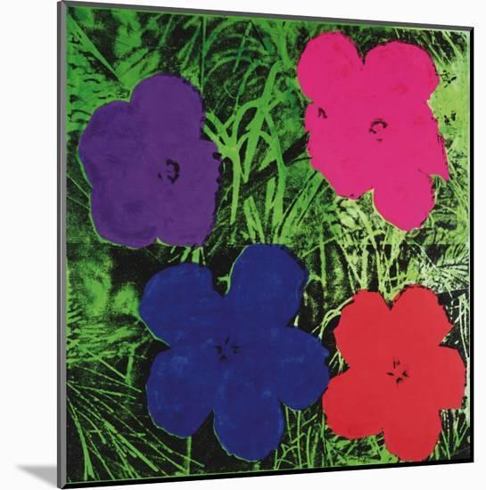 Flowers, c.1964 (1 purple, 1 blue, 1 pink, 1 red)-Andy Warhol-Mounted Art Print
