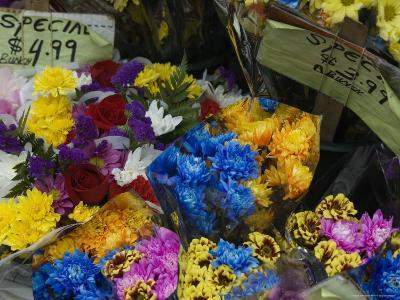 Flowers for Sale at an Outdoor Market Stand, New York-Todd Gipstein-Photographic Print