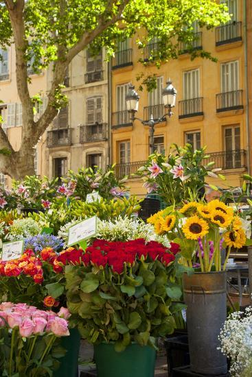 Flowers for Sale on Market Day in Aix-En-Provence, France-Brian Jannsen-Photographic Print