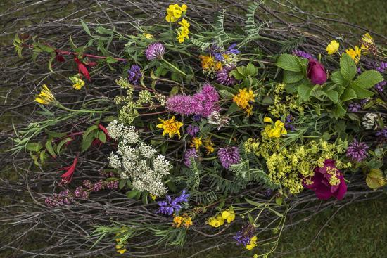 Flowers from a pagan wedding at a Neolithic henge monument with a stone circle.-Jim Richardson-Photographic Print