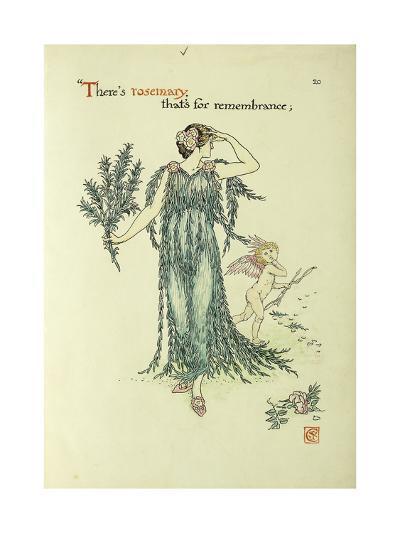 Flowers from Shakespeare's Garden: Rosemary-Walter Crane-Giclee Print