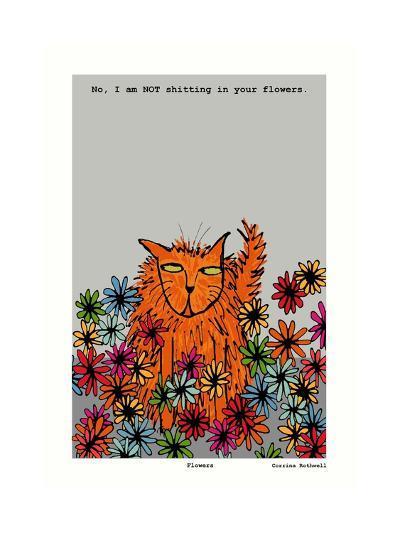 Flowers (Grey)-Corrina Rothwell-Giclee Print