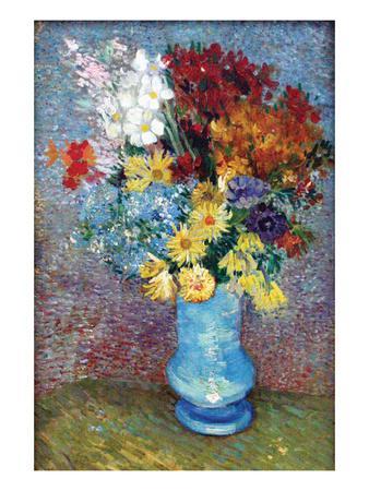 Flowers in a Blue Vase by Van Gogh-Vincent van Gogh-Art Print