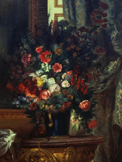 Flowers in a Blue Vase-Eugene Delacroix-Giclee Print
