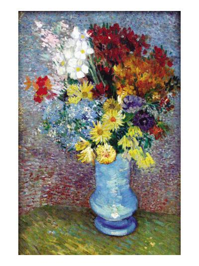 Flowers In a Blue Vase-Vincent van Gogh-Art Print