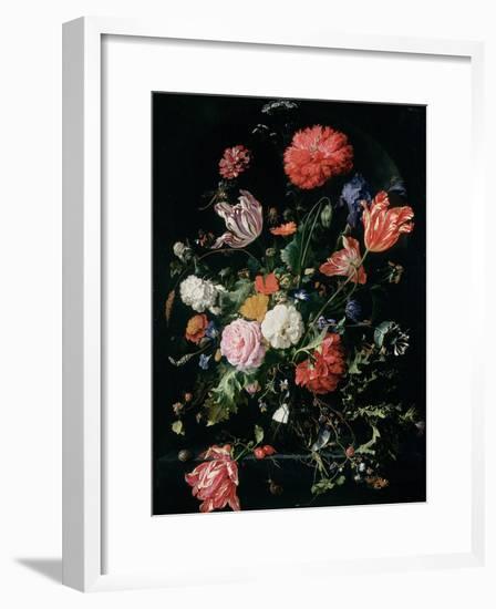 Flowers in a Glass Vase, C.1660-Jan Davidsz de Heem-Framed Giclee Print
