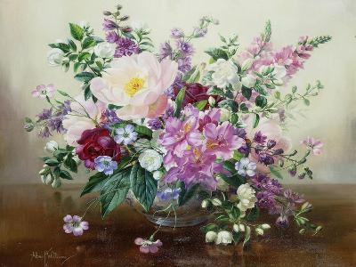 Flowers in a Glass Vase-Albert Williams-Premium Giclee Print