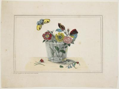 Flowers in a Glass, with Butterfly--Giclee Print