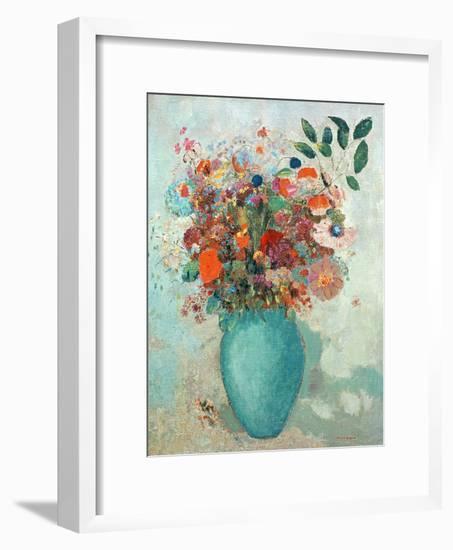 Flowers in a Turquoise Vase, C.1912-Odilon Redon-Framed Giclee Print