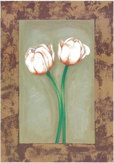 Flowers In Brown Frame I-Ferrer-Art Print