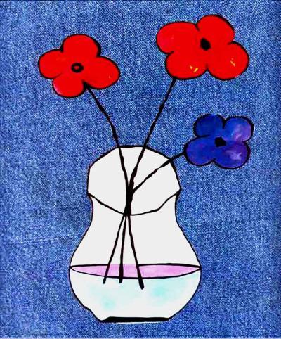 Flowers in Jeans I-J^ Clark-Art Print