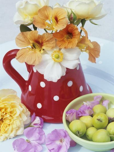 Flowers in Jug and a Bowl of Wild Apples-Linda Burgess-Photographic Print