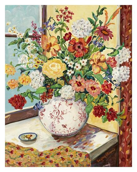 Flowers in Red and White Vase-Suzanne Etienne-Art Print