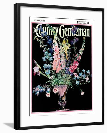 """""""Flowers in Silver Vase,"""" Country Gentleman Cover, April 1, 1931-Nelson Grofe-Framed Giclee Print"""