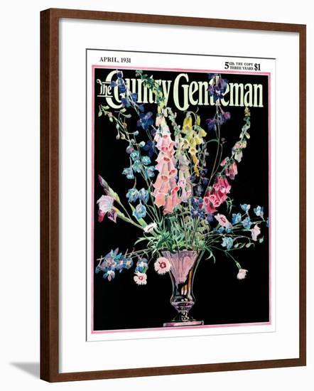 """Flowers in Silver Vase,"" Country Gentleman Cover, April 1, 1931-Nelson Grofe-Framed Giclee Print"