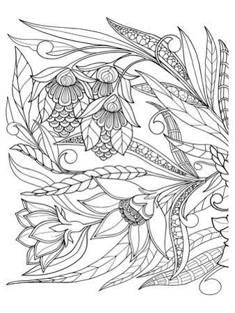 Flowers & Leafs Design Coloring Art