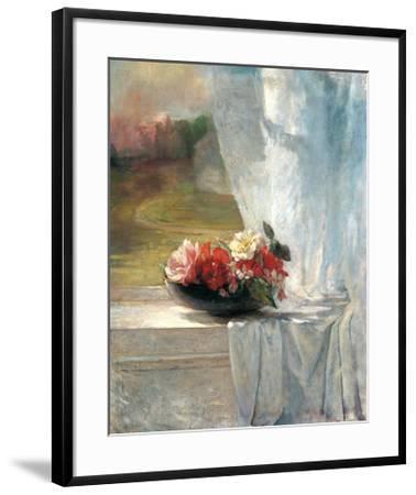 Flowers on a Window Ledge-John Lafarge-Framed Art Print
