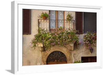Flowers on Home in Piezna, Tuscany, Italy-Brian Jannsen-Framed Photographic Print
