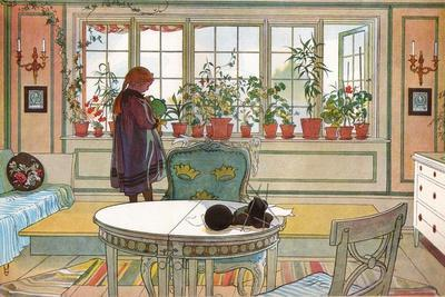 Flowers on the Windowsill, From 'A Home' series, c.1895-Carl Larsson-Giclee Print