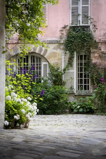 Flowery Building Courtyard in Saint Germaine Des Pres, Paris, France-Brian Jannsen-Photographic Print