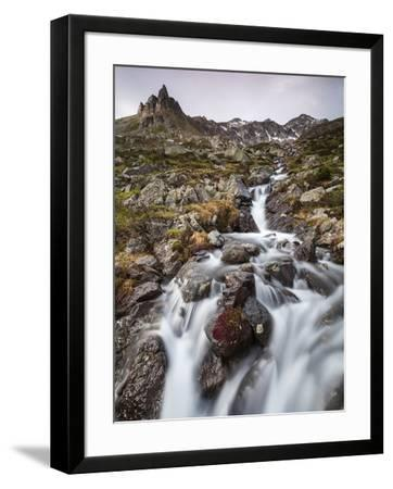 Flowing water of a creek, Alp Da Cavloc, Maloja Pass, Bregaglia Valley, Engadine, Canton of Graubun-Roberto Moiola-Framed Photographic Print