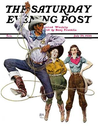 """Lasso Tricks,"" Saturday Evening Post Cover, July 29, 1939"