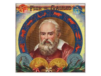 Flur de Galileo Brand Cigar Box Label, Galileo Galilei-Lantern Press-Art Print