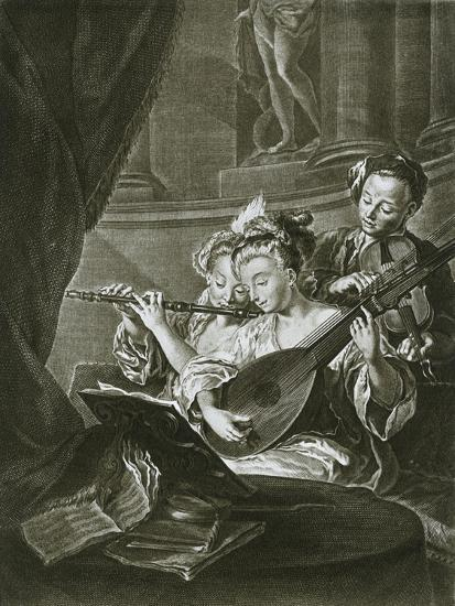 Flute, violin and chitarrone (George Frederick Handel as a young musician in Hamburg)-Unknown-Giclee Print