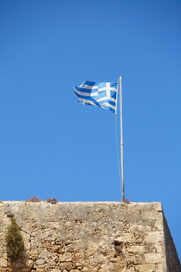 Fluttering Greek Flag-Dmitry Naumov-Photographic Print