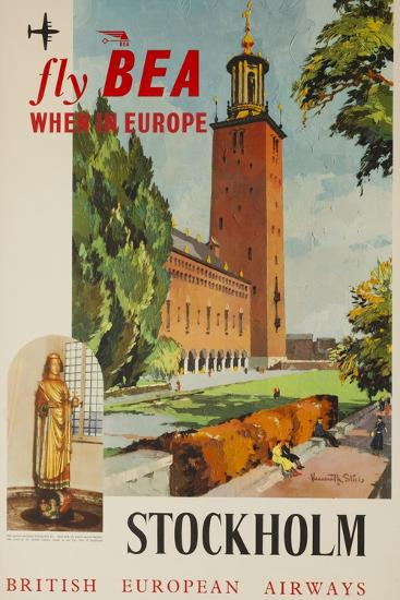 Fly Bea When in Europe, Stockholm Travel Poster--Giclee Print